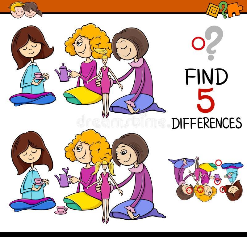 Найдите игра разниц иллюстрация вектора
