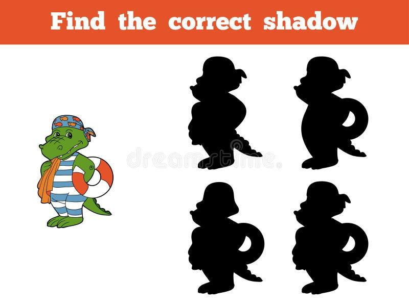 Найдите правильная тень (крокодил) иллюстрация штока