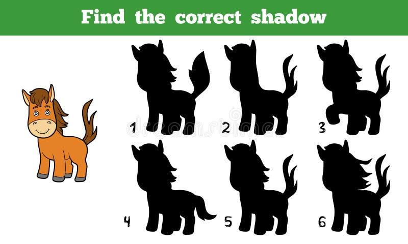 Найдите правильная тень (лошадь) иллюстрация вектора