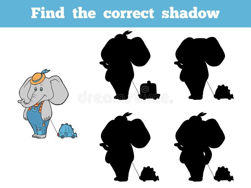 Найдите правильная тень (слон и игрушка) бесплатная иллюстрация