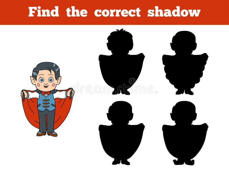 Найдите правильная тень: Характер хеллоуина (вампир) иллюстрация вектора