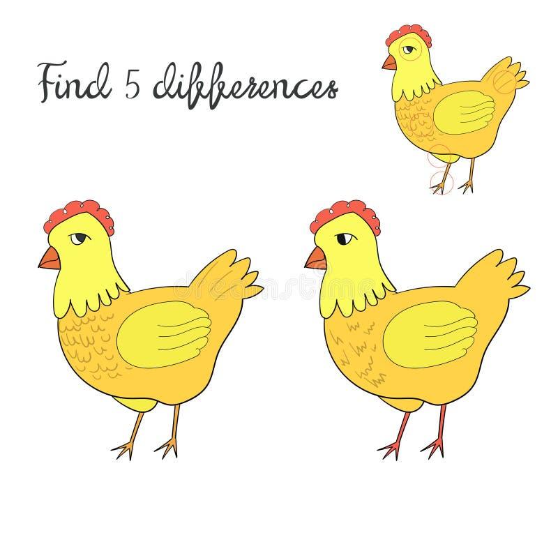 Найдите план детей разниц для цыпленка курицы игры иллюстрация вектора