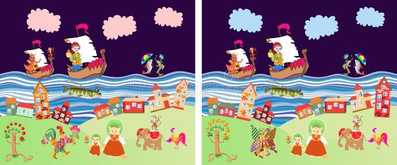 Найдите разницы в fairy земле с различными животными Милая иллюстрация вектора шаржа игры образования для детей иллюстрация штока