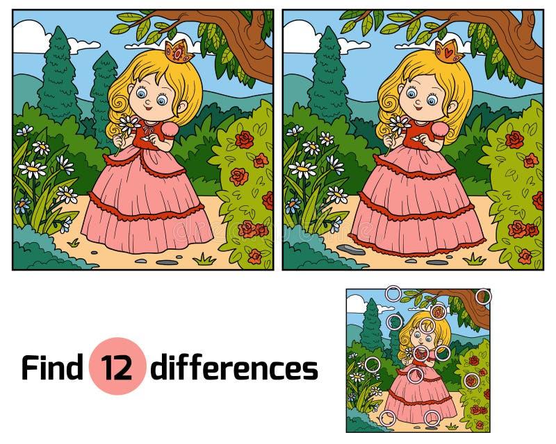 Найдите разницы, маленькая принцесса с цветком в саде иллюстрация штока