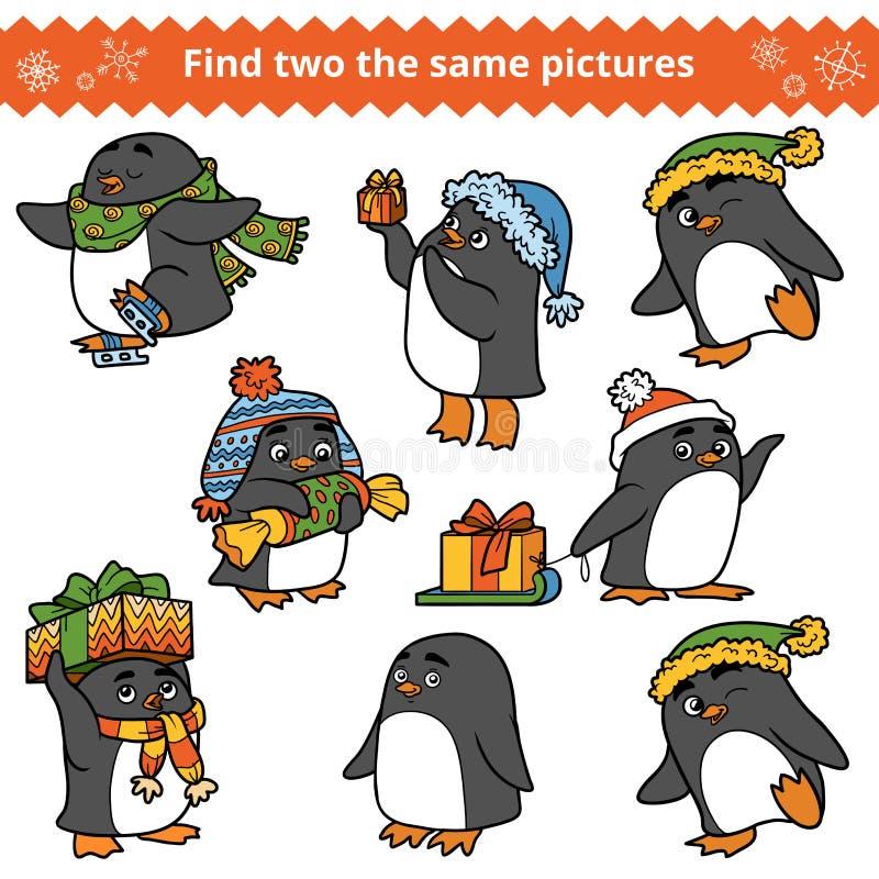 Найдите 2 такие же изображения, комплект пингвинов иллюстрация вектора