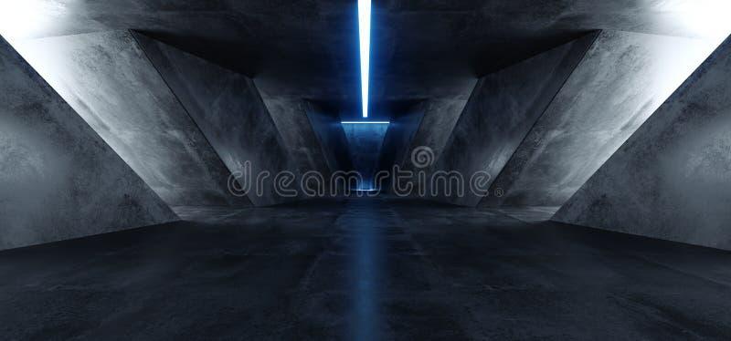 Накалять космического корабля тоннеля коридора комнаты Hall Grunge неонов иллюстрация вектора