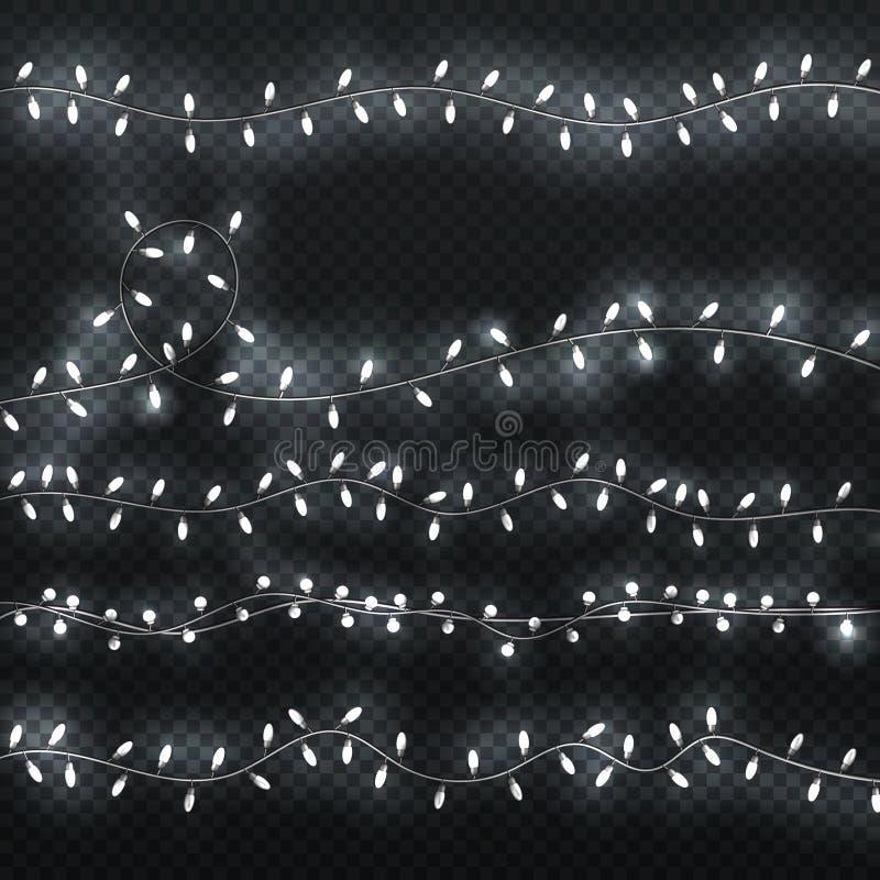 Накаляя гирлянда Сияющие границы с белыми лампочками Комплект вектора светов рождества иллюстрация вектора