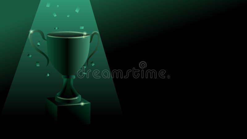Накаляя зеленый цифровой трофей придает форму чашки иллюстрация вектора победителя бесплатная иллюстрация