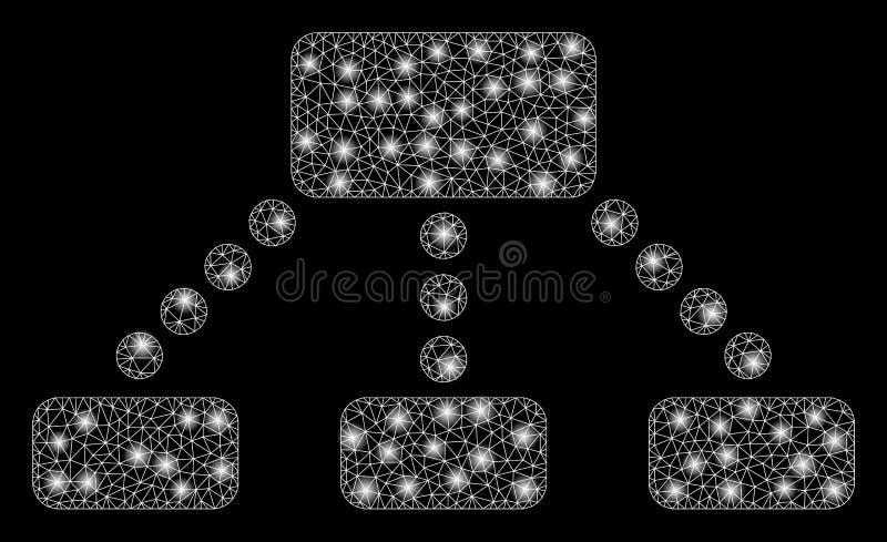 Накаляя иерархия ячеистой сети со светлыми пятнами иллюстрация штока