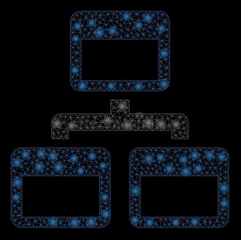 Накаляя карта места сетки 2D со светлыми пятнами иллюстрация штока
