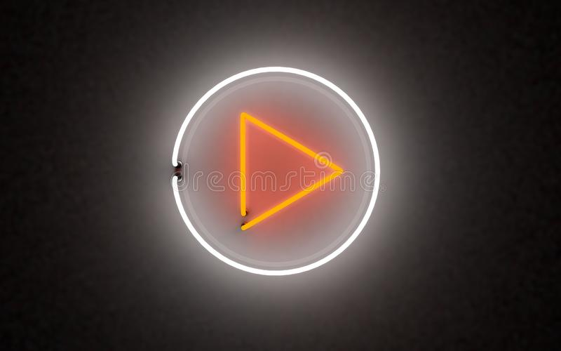 Накаляя кнопка игры неонового света перевод 3d стоковое изображение