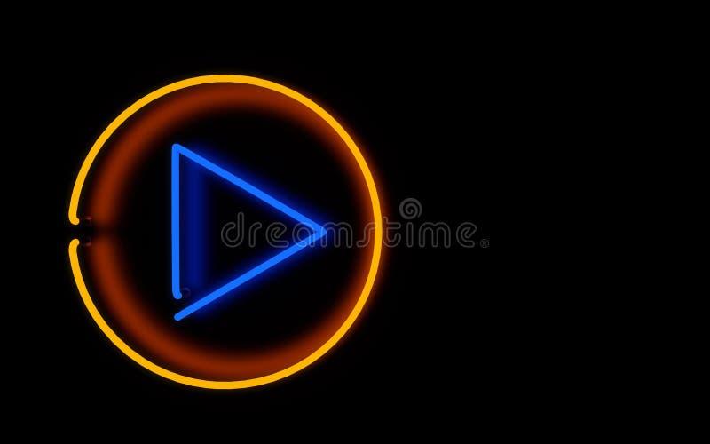 Накаляя кнопка игры неонового света перевод 3d стоковое фото rf