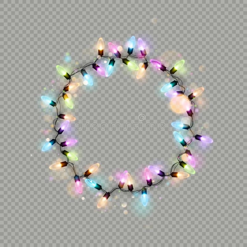 Накаляя кольцо гирлянды рождества освещает изолированный реалистический элемент ламп блеска для дизайна поздравительной открытки  бесплатная иллюстрация