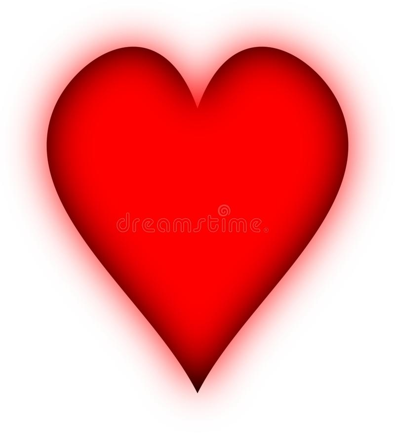 накаляя красный цвет сердца стоковое изображение rf