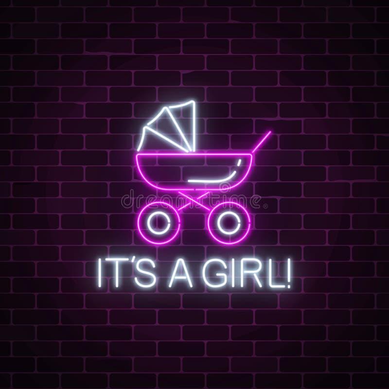 Накаляя неоновая вывеска с поздравлениями на рождении ребёнка Символ детской дорожной коляски со своим текст девушки иллюстрация вектора