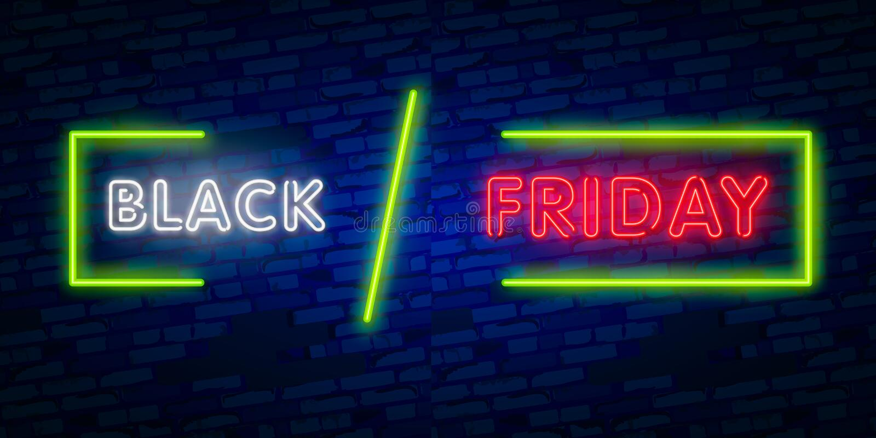 Накаляя неоновая вывеска черной продажи пятницы в рамке прямоугольника с символами покупок на темной предпосылке кирпичной стены  иллюстрация штока