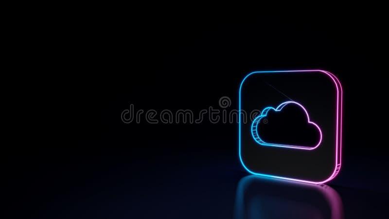 накаляя неоновый символ 3d значка iCloud управляет приложением изолированного на черной предпосылке иллюстрация штока