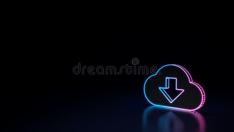 накаляя неоновый символ 3d символа загрузки облака изолированного на черной предпосылке бесплатная иллюстрация