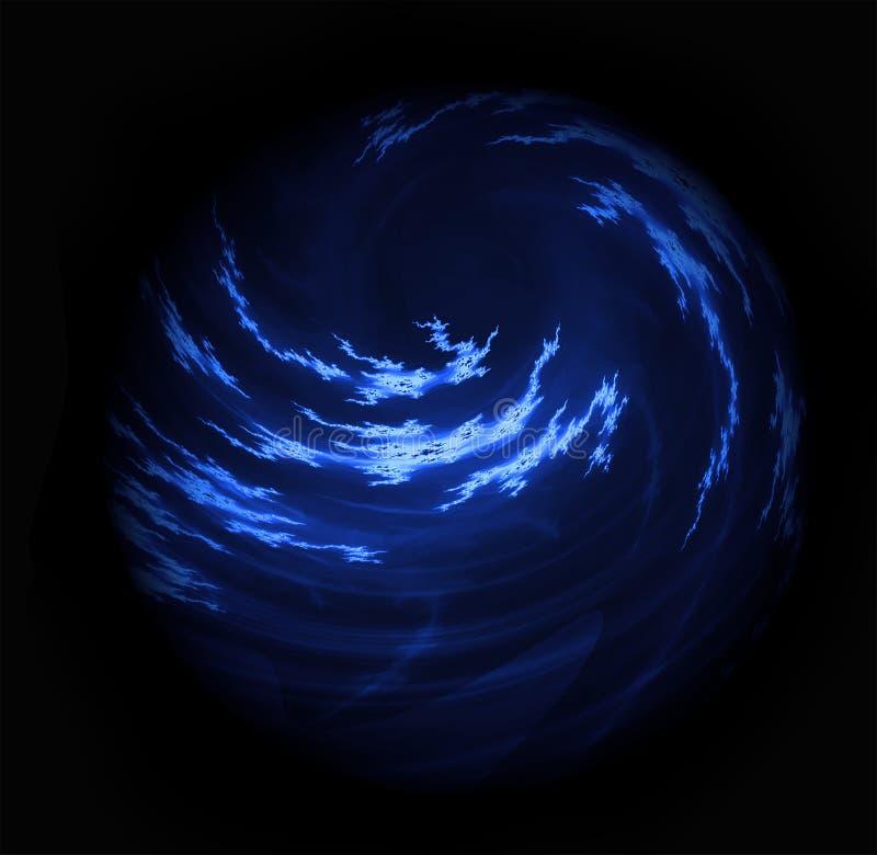 Накаляя пасмурный завихряясь голубой шар планеты стоковое изображение