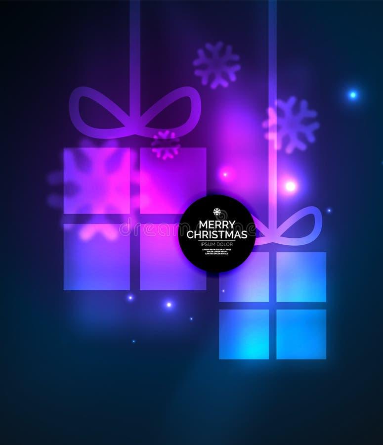 Накаляя подарочные коробки с снежинками, шаблоном рождества и Нового Года иллюстрация штока