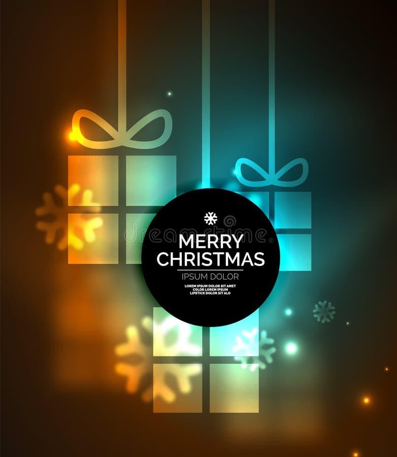 Накаляя подарочные коробки с снежинками, шаблоном рождества и Нового Года иллюстрация вектора