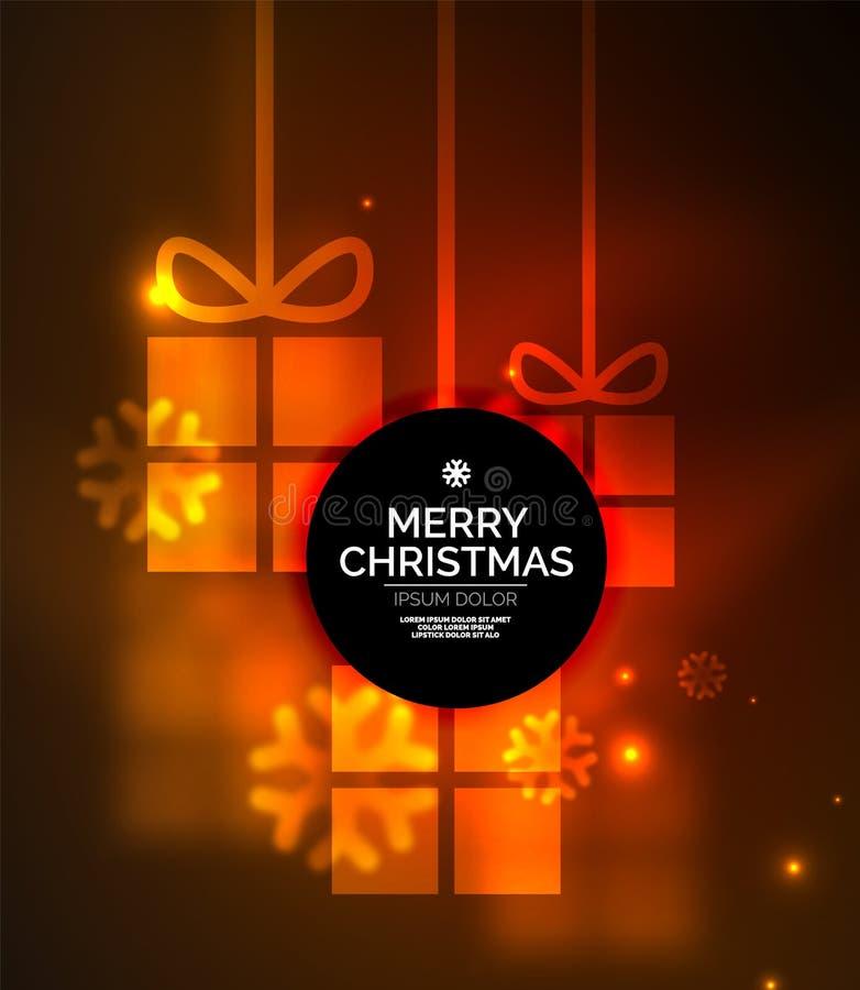 Накаляя подарочные коробки с снежинками, шаблоном рождества и Нового Года бесплатная иллюстрация