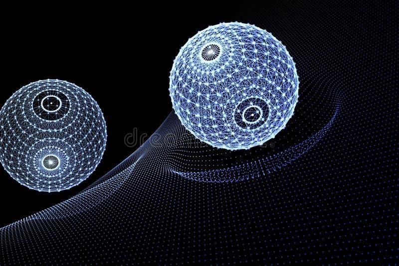 Накаляя полигональная предпосылка сфер иллюстрация вектора