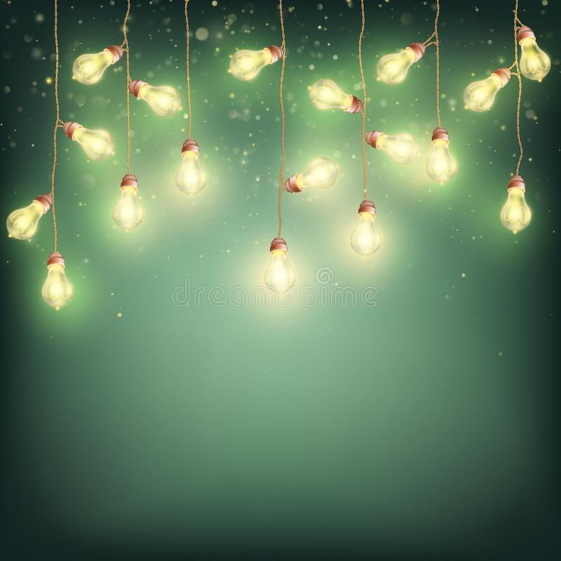 Накаляя предпосылка рождества Нового Года электрических лампочек Вектор EPS 10 иллюстрация штока