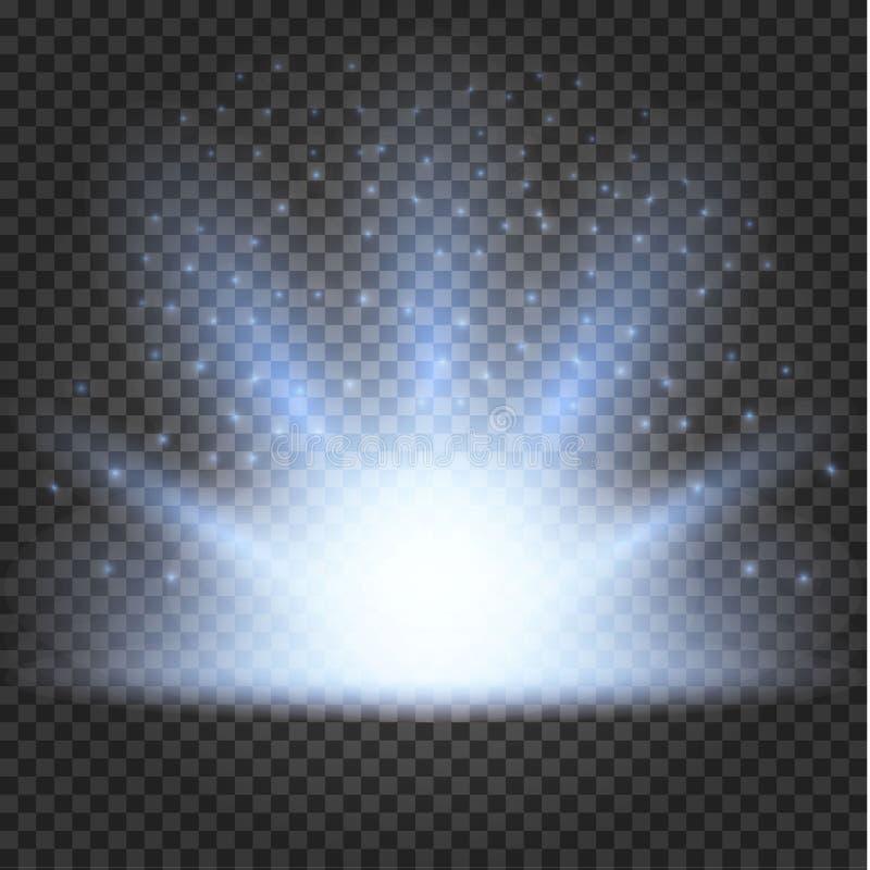 Накаляя световой эффект, пирофакел, взрыв и звезды иллюстрация штока