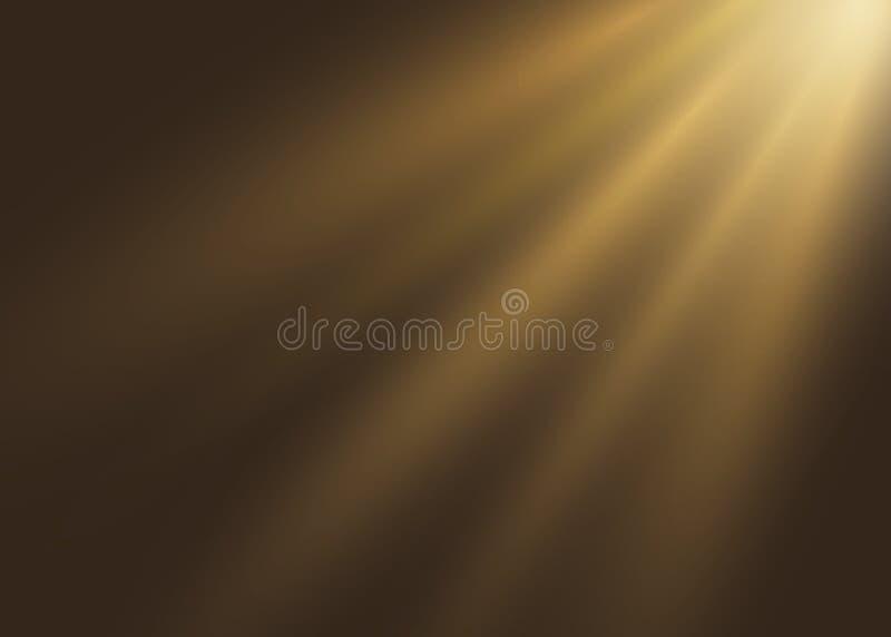 Накаляя свет взрывает на черной предпосылке Иллюстрация вектора светлого влияния украшения с лучем Вспышка объектива Солнце подсв иллюстрация штока