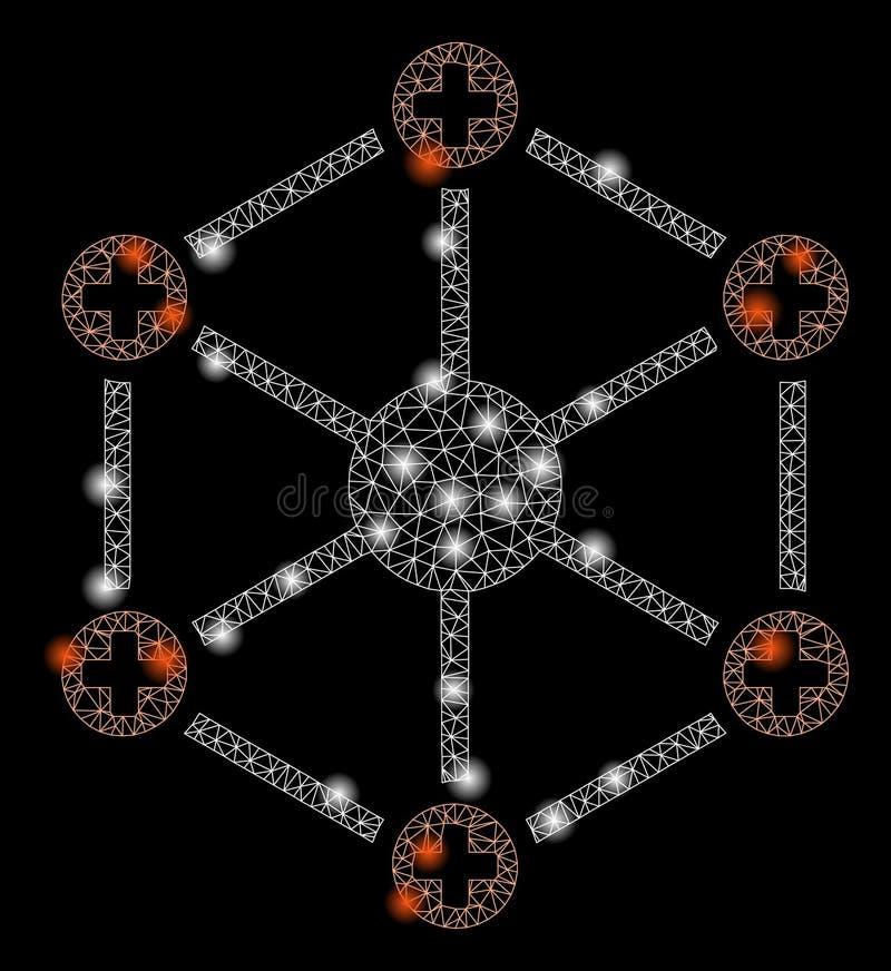 Накаляя сеть ячеистой сети медицинская со светлыми пятнами бесплатная иллюстрация