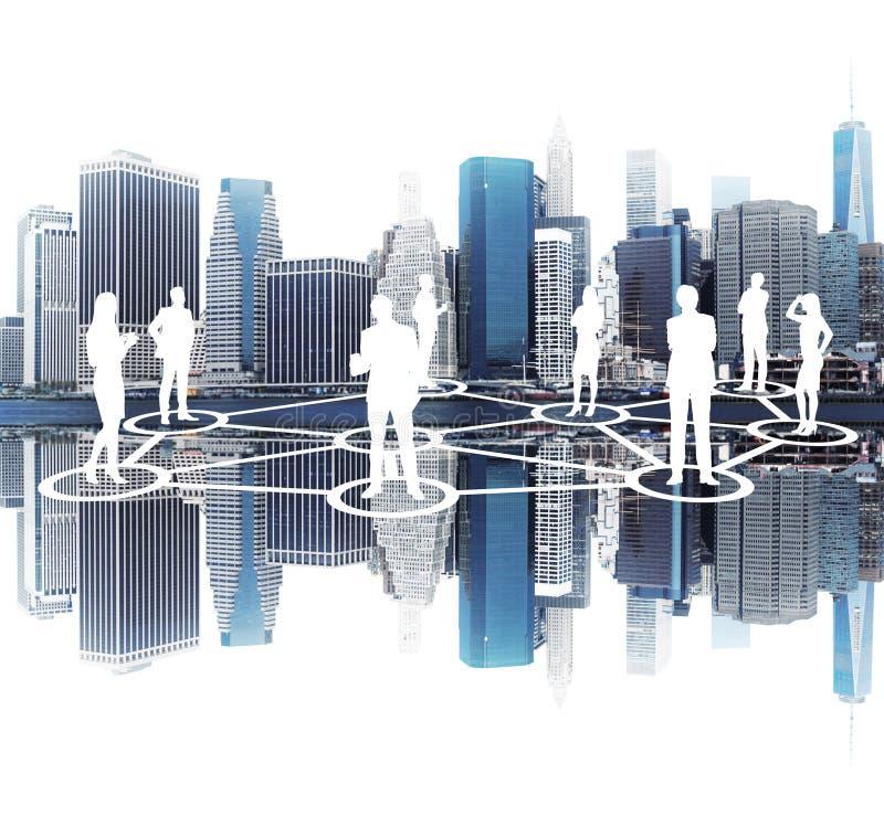Накаляя силуэты людей, сеть, вид на город иллюстрация вектора