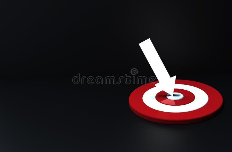 Накаляя стрелка ударила в цели в темной предпосылке владение домашнего ключа принципиальной схемы дела золотистое достигая небо к иллюстрация штока