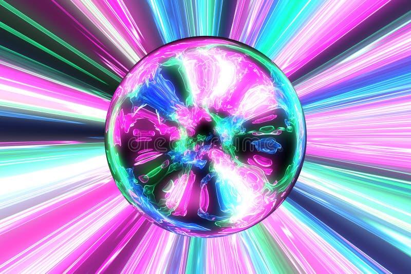 Накаляя сфера с фоном лучей иллюстрация штока