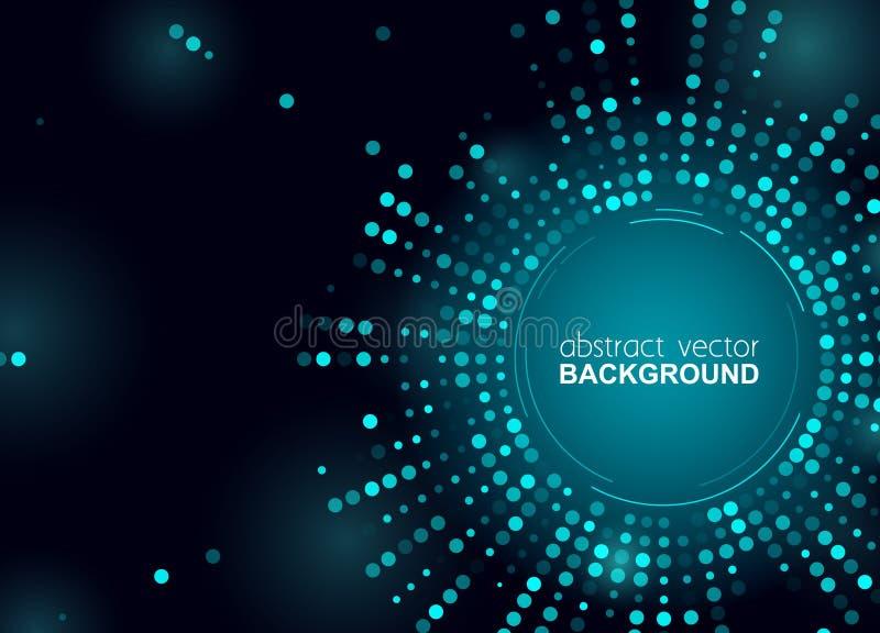 Накаляя точки полутонового изображения объезжают сияющий голубой дизайн для клуба, партии, приглашения шоу Абстрактная предпосылк иллюстрация штока