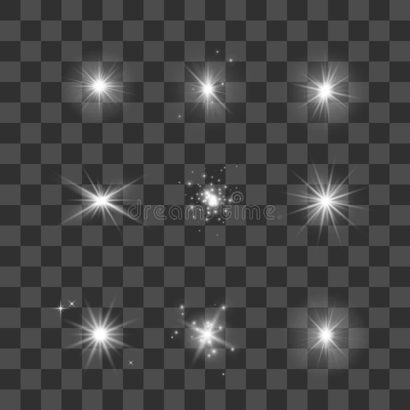 Накаляя установленные света, звезды и sparkles Играет главные роли собрание на темной прозрачной предпосылке также вектор иллюстр иллюстрация вектора