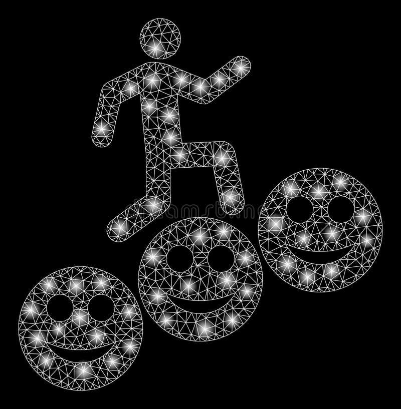 Накаляя шаги человека ячеистой сети усмехаются уровни со светлыми пятнами иллюстрация штока