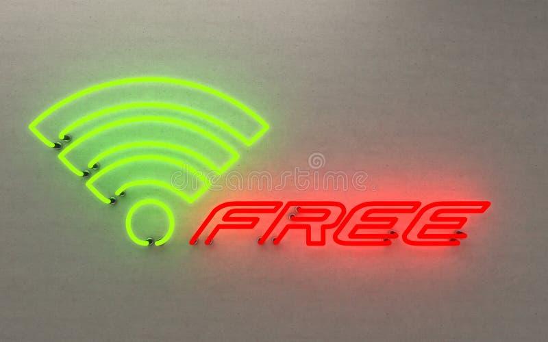 Накаляя w-lan неонового света свободно перевод 3D на черной предпосылке стоковая фотография rf