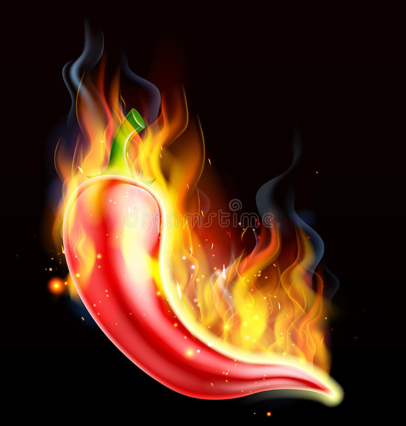 Накаленный докрасна перец чилей на огне иллюстрация вектора