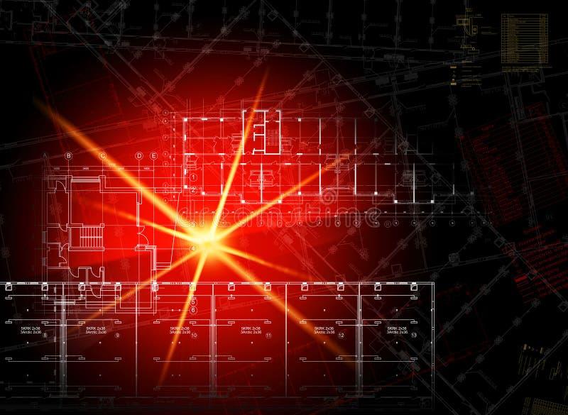 Накаляя архитектурноакустические чертежи на темной предпосылке иллюстрация вектора