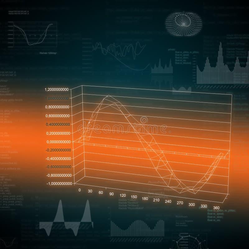 Накаляя графики и текст на темной предпосылке иллюстрация вектора