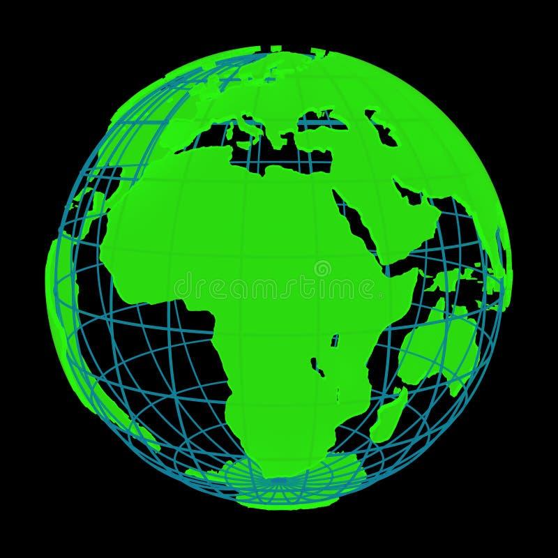 Накаляя глобус кибер 3D планеты земли иллюстрация штока