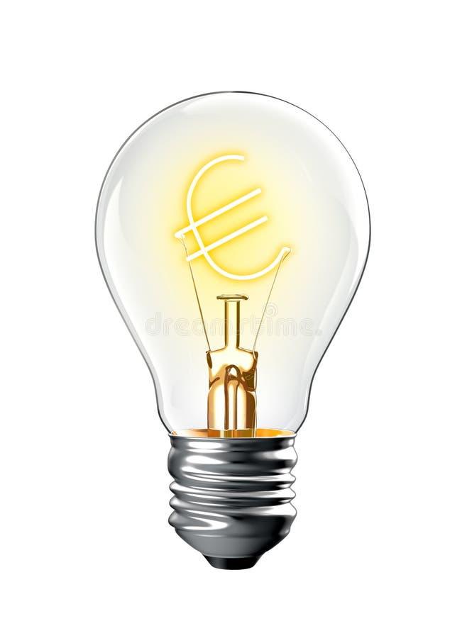 Накаляя евро подписывает внутри электрическую лампочку иллюстрация штока