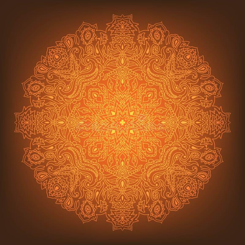 Накаляя оранжевая мандала на предпосылке градиента стоковое изображение rf