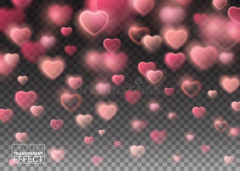 Накаляя сверкная розовые сердца на прозрачной предпосылке бесплатная иллюстрация