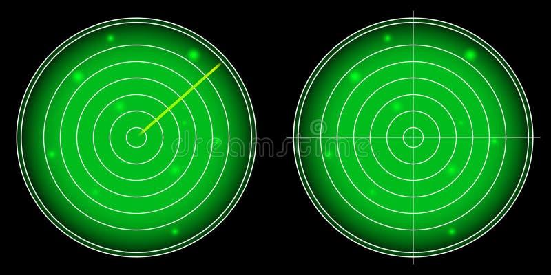 Накаляя экран радара с светящим вектором целей иллюстрация штока