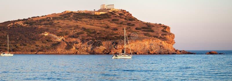 Накидка Sounion, висок Poseidon, Attica, Греция стоковые фото
