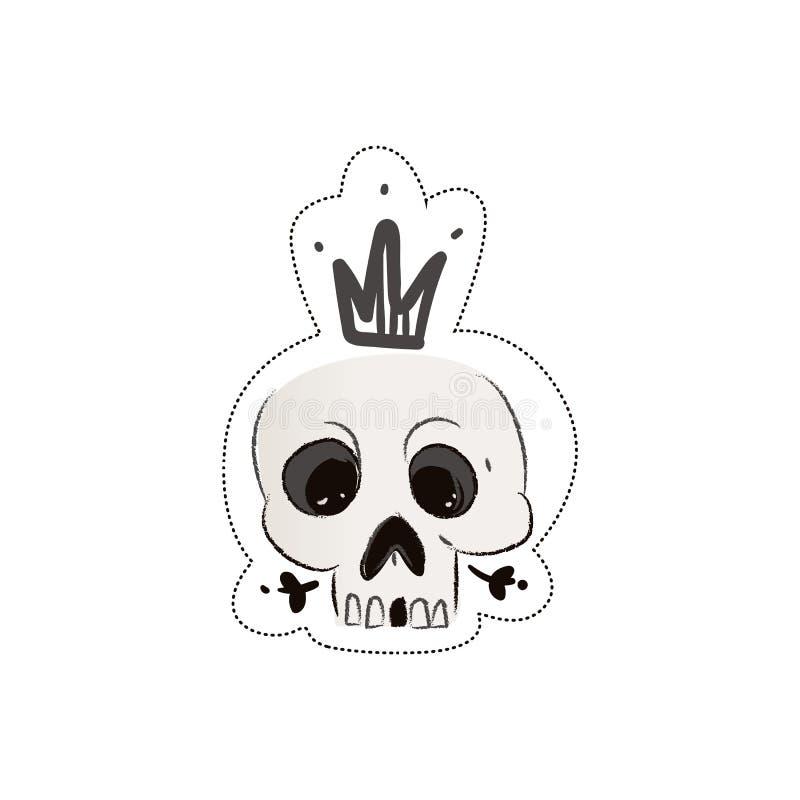 Наклейка черепа в короне иллюстрация штока