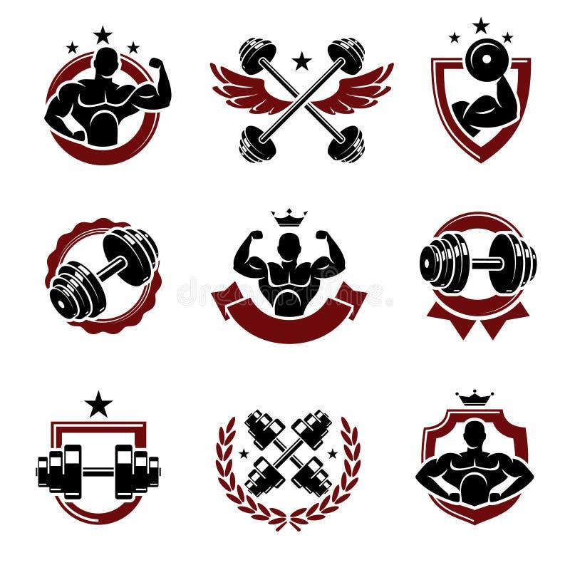 Наклейки для сбора фитнеса и набор элементов Атмосфера значка коллекции Вектор иллюстрация штока