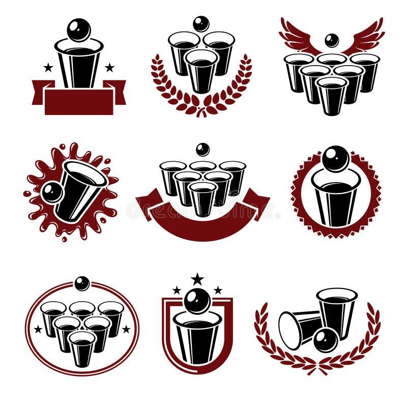 Наклейки и набор элементов коллекции пинг-понгов пива Пиво-понг со значком коллекции Вектор бесплатная иллюстрация
